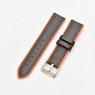 Curea hibrid silicon si piele fibra carbon neagra cu portocaliu 24mm - 4005624