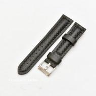 Curea piele tip fibra carbon neagră, cusătură neagră, căptușită 18mm - 3741811