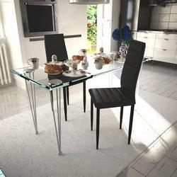 Scaune de bucătărie 2 buc., design suplu, negru