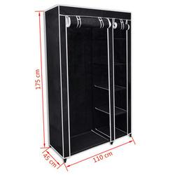 vidaXL Dulap de haine pliabil, negru, 110 x 45 x 175 cm