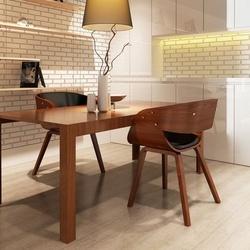 vidaXL Scaune de bucătărie 2 buc., maro, lemn curbat & piele ecologică