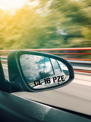 Set 2xstickere auto pentru oglinda cu nr. de inmatriculare