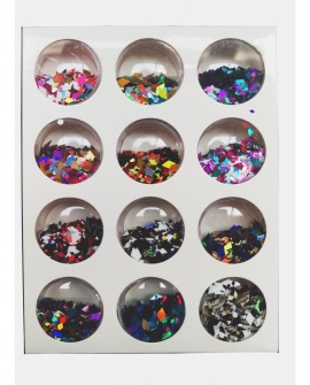 Set 12 butoiase Confetii Romb decor unghii-j1206