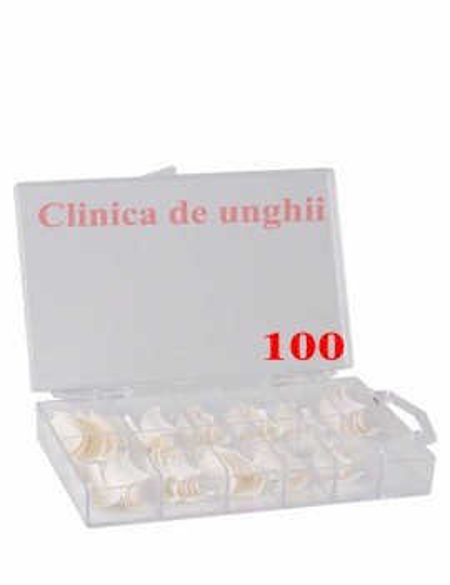 Tipsuri unghii false 100bucati Albe