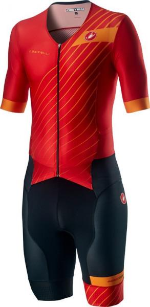 Costum Triatlon cu Maneca Scurta Castelli Free Sanremo SS Suit Negru/Rosu/Portocaliu XXXL