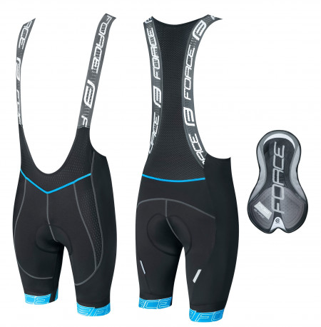 Pantaloni scurti cu bazon si bretele Force F FAME Negru/Albastru S