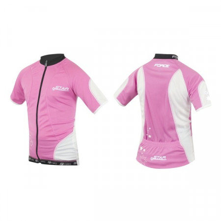 Tricou ciclism Force Kid Star 154-164 cm roz/alb