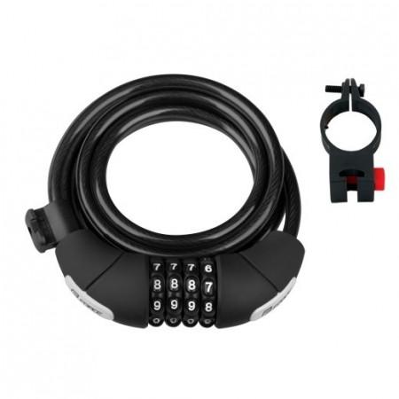 Lacat Force Lux spirala cod 180cm/8mm cu suport negru
