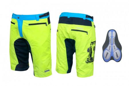 Pantaloni scurti Force MTB-11 cu interior detasabil galben fluo XL