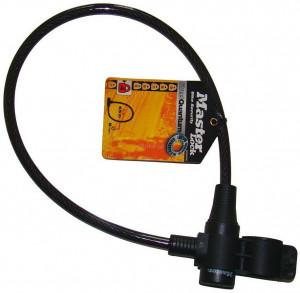 Antifurt Master Lock cablu cu cheie si suport prindere 650 x 8mm Gri