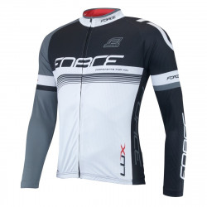 Bluza ciclism Force Lux maneci lungi negru/alb XXL