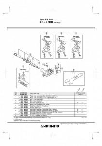 "ANSAMBLU AX PEDALE SHIMANO PD-7700 STANGA B.C.9/16"" X 20T.P.I."
