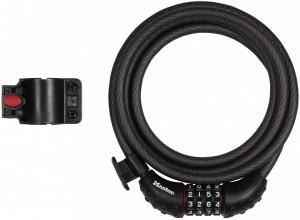 Antifurt MasterLock cablu spiralat cu cifru 1.80m x 10mm Negru