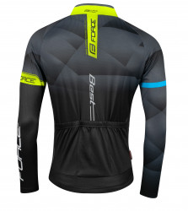 Bluza ciclism Force Best maneci lungi negru/fluo L