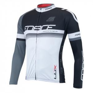 Bluza ciclism Force Lux maneci lungi negru/alb XL
