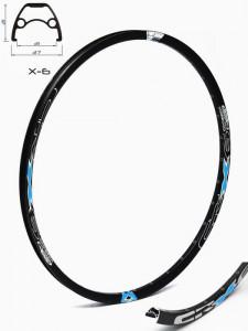 Janta CROSSER X6 27.5'' 36H negru / albastru - capsata