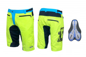Pantaloni scurti Force MTB-11 cu interior detasabil galben fluo XXL