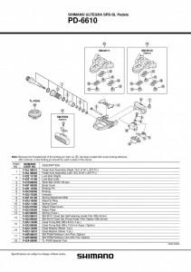 "ANSAMBLU AX PEDALA SHIMANO PD-6610 STANGA B.C.9/16""X20T.P.I."