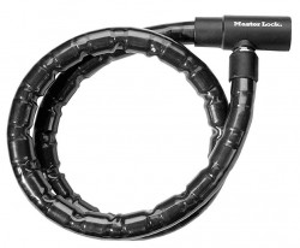 Antifurt MasterLock cablu ranforsat otel impletit cu cheie 2m x 20mm Negru