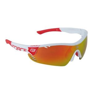 Ochelari Force Race Pro albi, lentila rosie