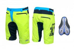 Pantaloni scurti Force MTB-11 cu interior detasabil galben fluo S