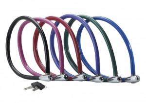 Antifurt Master Lock cablu cu cheie diverse culori 550 x 6mm Rosu
