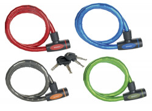 Antifurt Master Lock cablu otel calit cu cheie 1m x 18mm Rosu