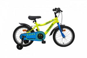 Bicicleta copii Robike Racer 16 galben neon/albastru