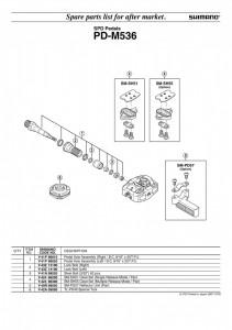 ANSAMBLU AX PEDALE SHIMANO PD-M536 STANGA B.C.9/16 X 20 T.P.I.