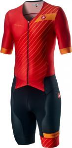 Costum Triatlon cu Maneca Scurta Castelli Free Sanremo SS Suit Negru/Rosu/Portocaliu XL