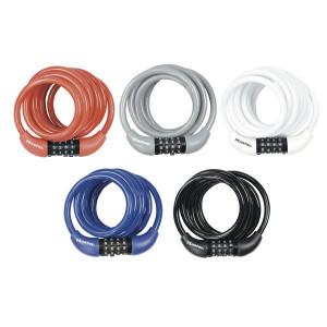 Antifurt Master Lock cablu spiralat cu cifru 1.8m x 8mm Rosu