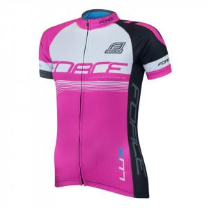 Bluza ciclism Force Lux dame maneci scurte roz M