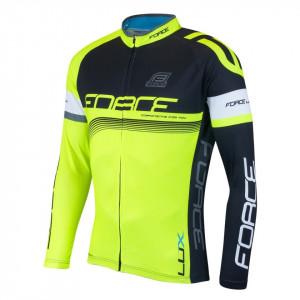 Bluza ciclism Force Lux maneci lungi negru/fluo XXL