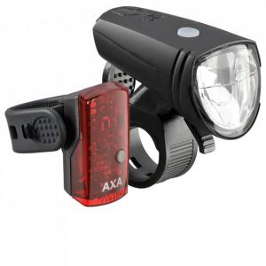 Set Lumini cu Acumulator AXA Green Line 25 Lux LED USB CB