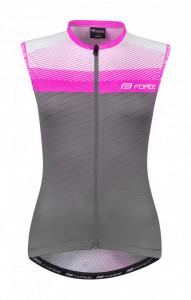 Tricou ciclism fara maneci Force F Acceler gri/roz L
