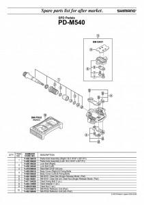 "ANSAMBLU AX PEDALE SHIMANO PD-M540 STANGA B.C.9/16"" X 20 T.P.I"