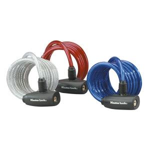 Antifurt Master Lock cablu spiralat cu cheie 1.80m x 8mm Rosu
