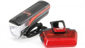 Far + stop CONTEC Speed Led USB - 20lux - negru/rosu