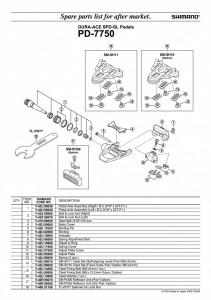 "ANSAMBLU AX PEDALE SHIMANO PD-7750 DREAPTA B.C.9/16""X20T.P.I."