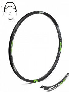 Janta CROSSER X6 26'' 36H negru / verde - capsata