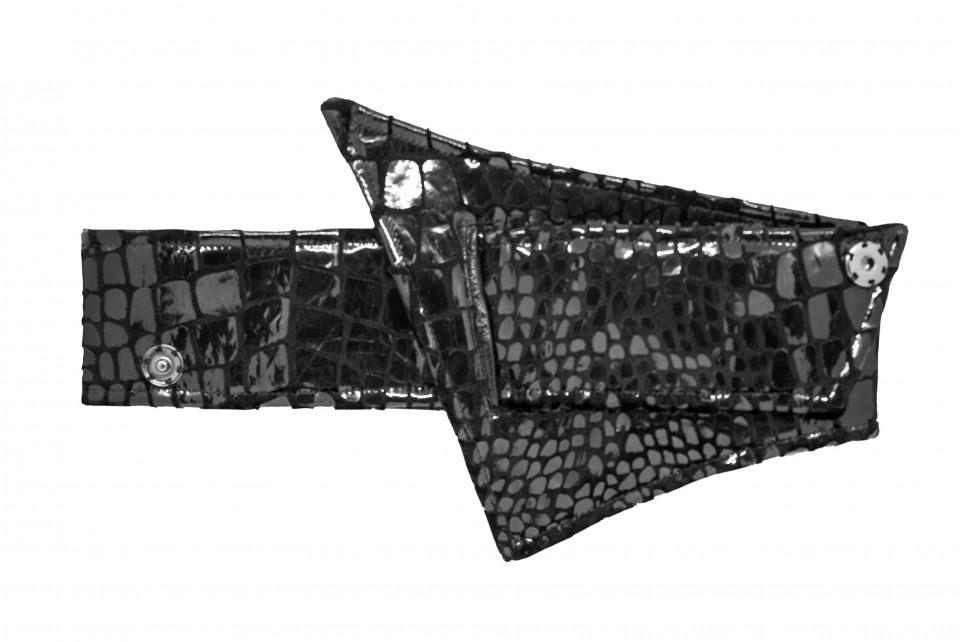 CROCO-METALLIC BLACK WAIST BELT