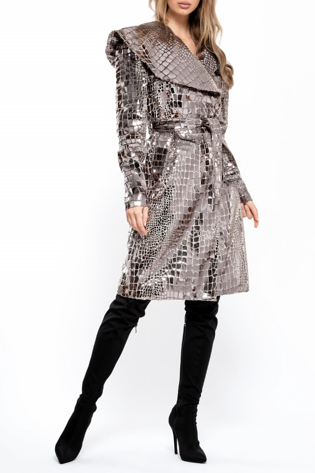 CROCO-METALLIC SILVER COAT