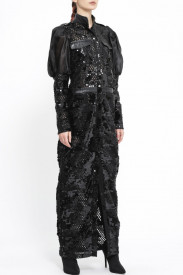 BLACK ARMY DRESS WITH ORGANZA PUFF SLEEVES