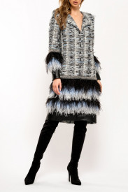 BLUE TWEED AND LEATHER EMBELLISHED COAT