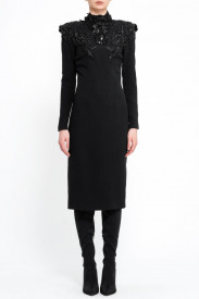 BLACK MIDI EMBELLISHED DRESS