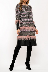 PINK MIX TWEED AND LEATHER EMBELLISHED COAT