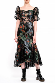 BROCARD MIDI DRESS WITH BLACK LACE INSERTS