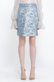 METALLIC BLUE AND SILVER LEATHER SKIRT