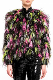 MULTICOLOR OSTRICH FEATHERS JACKET
