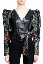 PATENT LEATHER JACKET WITH STRUCTURED BROCARD PUFF SLEEVES